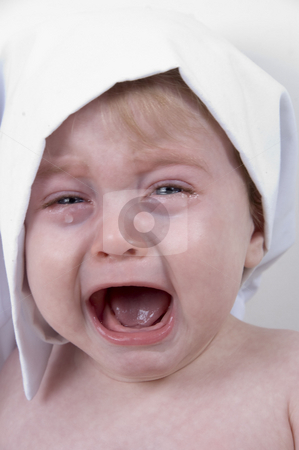 Weeping cute baby with chef cap and pot stock photo, Weeping cute baby with chef cap and pot by Imagery Majestic