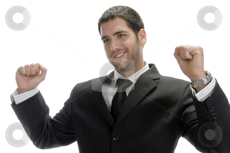 Happy caucasian businessman stock photo, Happy caucasian businessman on an isolated white background by Imagery Majestic