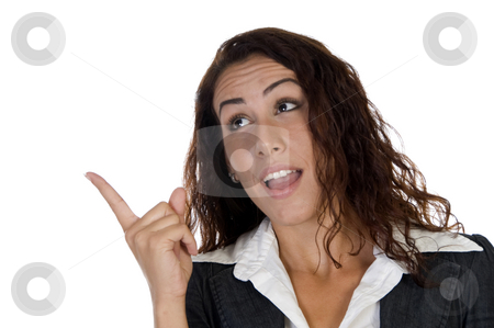 Businesswoman indicating something stock photo, Businesswoman indicating something  on an isolated background by Imagery Majestic