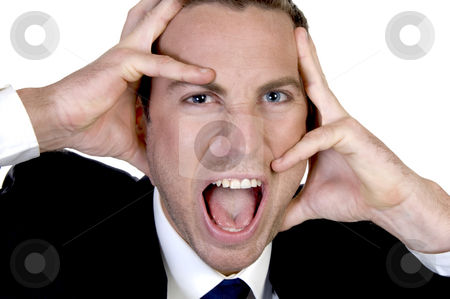 Upset businessman screming stock photo, Upset businessman screming against white background by Imagery Majestic