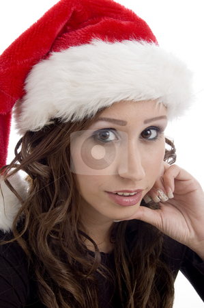 Close up of woman wearing christmas hat stock photo, Close up of woman wearing christmas hat on an isolated white background by Imagery Majestic