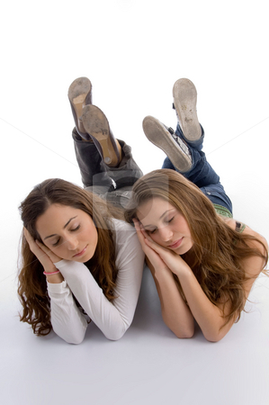 Cute teenager girls sleeping stock photo, Cute teenager girls sleeping with white background by Imagery Majestic