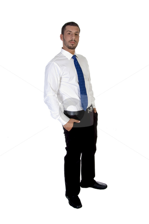 Standing young businessperson stock photo, Standing young businessperson on an isolated white  background by Imagery Majestic