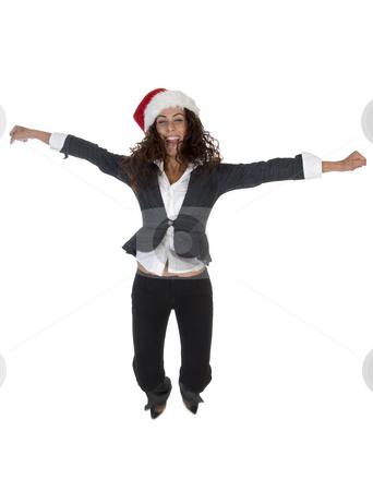 Lady enjoying christmas stock photo, Lady enjoying christmas on an isolated background by Imagery Majestic