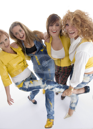 Group of playful adult females stock photo, Group of playful adult females against white background by Imagery Majestic