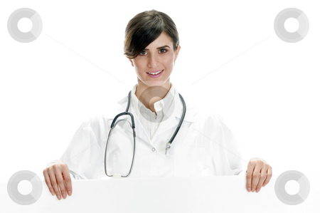 Lady doctor standing with placard stock photo, Lady doctor standing with placard with white background by Imagery Majestic