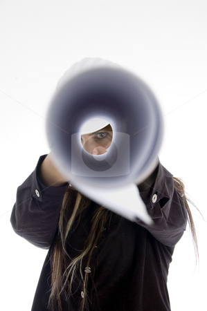 Girl looking into chart stock photo, Girl looking into chart on an isolated background by Imagery Majestic