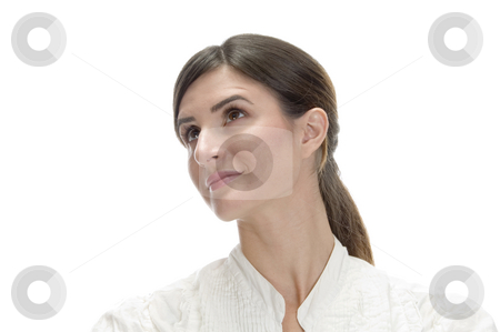 Charming lady looking upside stock photo, Charming lady looking upside on an isolated background by Imagery Majestic