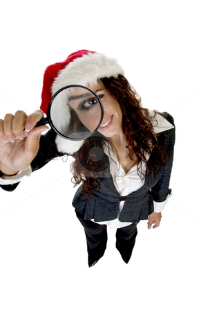Female holding magnifier stock photo, Female holding magnifier with white background by Imagery Majestic