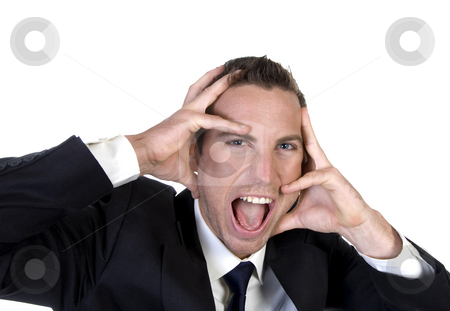 Frustrated businessman holding his face stock photo, Frustrated businessman holding his face on an isolated white background by Imagery Majestic