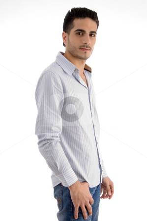 Side pose of standing man stock photo, Side pose of standing man on an isolated white background by Imagery Majestic