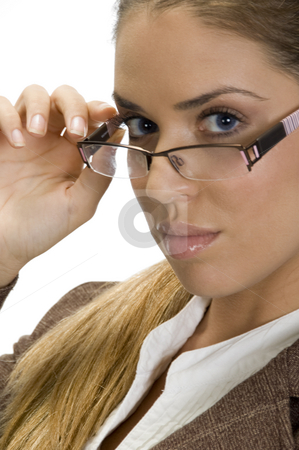 Pretty woman posing with her eyewear stock photo, Pretty woman posing with her eyewear with white background by Imagery Majestic
