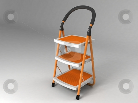 Portable staircase stock photo, Portable staircase on white background by Imagery Majestic