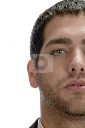 Close up view of half face stock photo, Close up view of half face against white background by Imagery Majestic