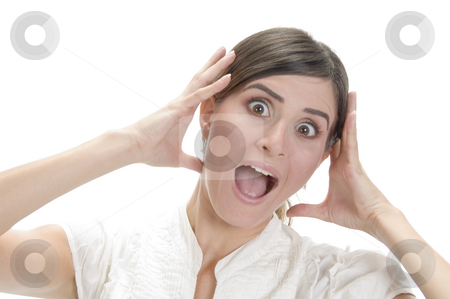 Screaming young lady stock photo, Screaming young lady on an isolated white background by Imagery Majestic