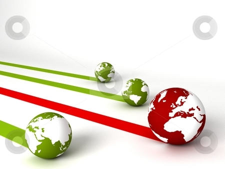 Display of profit and loss globes  stock photo, Three dimensional display of profit and loss globes by Imagery Majestic