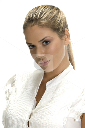 Pretty lady posing stock photo, Blonde pretty lady posing,close up view by Imagery Majestic