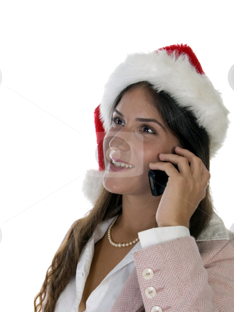 Woman talking on cellphone stock photo, Woman talking on cellphone on an isolated background by Imagery Majestic