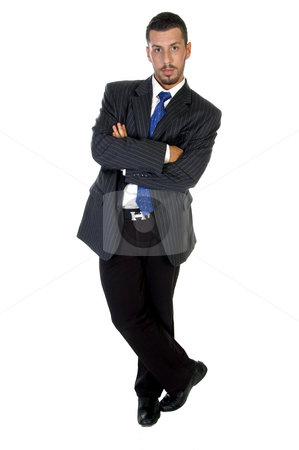 Stylish pose of successful businessperson stock photo, Stylish pose of successful businessperson against white background by Imagery Majestic