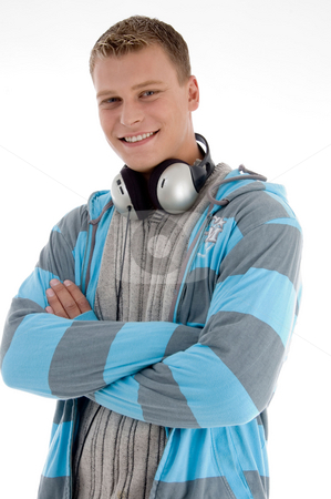 Smiling man with headphone  stock photo, Smiling man with headphone on an isolated white background by Imagery Majestic