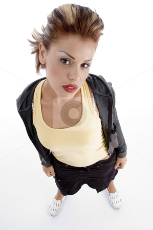 High angle view of glamorous woman stock photo, High angle view of glamorous woman against white background by Imagery Majestic