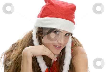 Smart woman with santa cap stock photo, Smart woman with santa cap with white background by Imagery Majestic