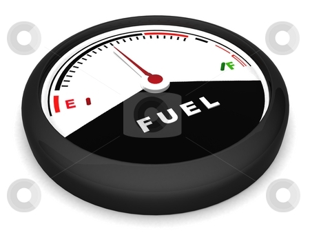 Fuel meter in flat position stock photo, Three dimensional fuel meter in flat position by Imagery Majestic