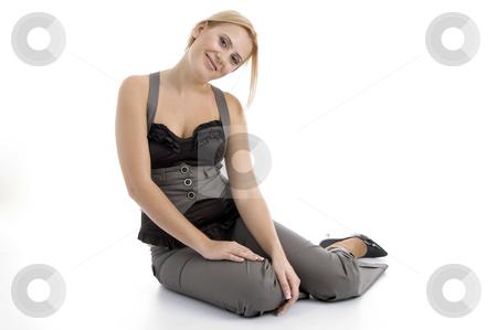 Sitting beautiful woman stock photo, Sitting beautiful woman with white background by Imagery Majestic