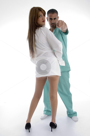 Doctor and patient stock photo, Doctor and patient against white background by Imagery Majestic