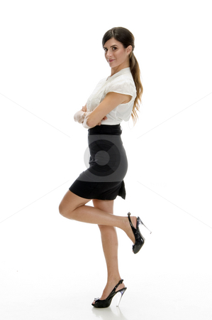 Sexy lady standing on leg stock photo, Sexy lady standing on leg with white background by Imagery Majestic