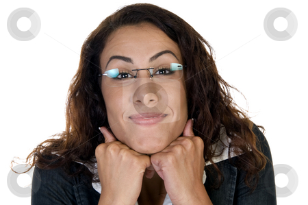 Glad woman with chin over hands stock photo, Glad woman with chin over hands on an isolated white background by Imagery Majestic