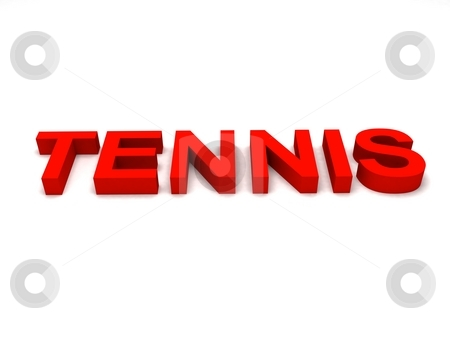 Flat view of tennis word stock photo, Flat view of three dimensional tennis word by Imagery Majestic