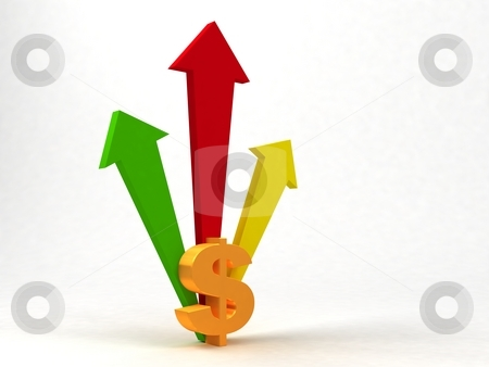 Arrows behind dollar sign stock photo, Three dimensional arrows behind dollar sign by Imagery Majestic