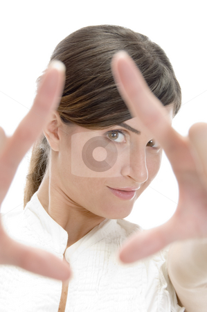 Lady showing directing hand gesture stock photo, Lady showing directing hand gesture with white background by Imagery Majestic