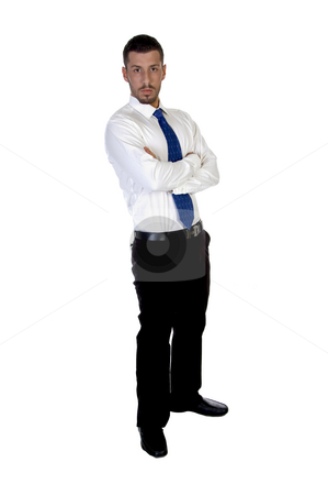 Standing young executive stock photo, Standing young executive against white background by Imagery Majestic