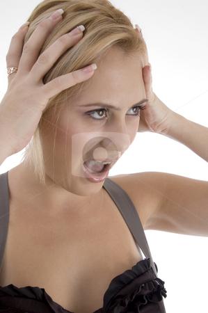 Shouting beautiful woman stock photo, Shouting beautiful woman against white background by Imagery Majestic