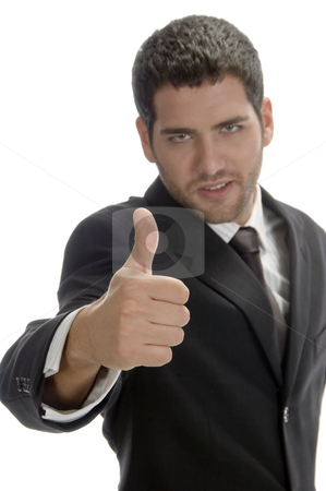 Businessman showing thumb stock photo, Businessman showing thumb on an isolated background by Imagery Majestic