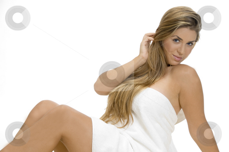 Sexy lady in towel stock photo, Sexy lady in towel on an isolated white background by Imagery Majestic