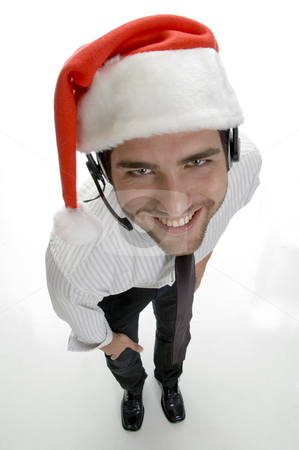 High angle view of santa man stock photo, High angle view of santa man with white background by Imagery Majestic
