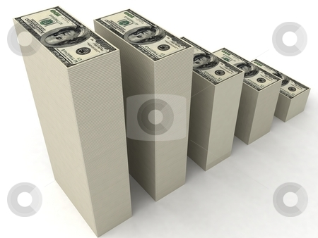 Stacks of dollars stock photo, Three dimensional stacks of dollars by Imagery Majestic