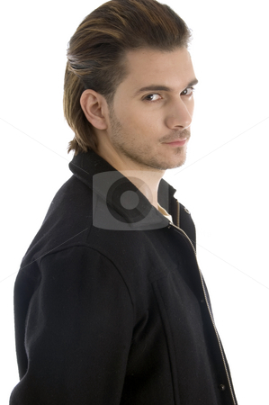 Portrait of man looking at camera stock photo, Portrait of man looking at camera on an isolated white background by Imagery Majestic