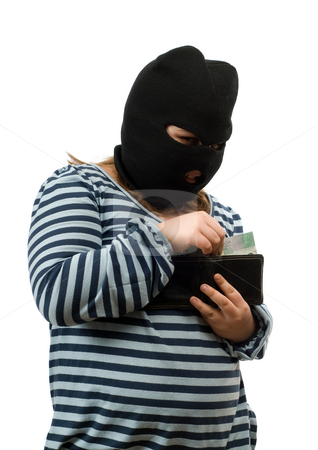 Child Stealing Money Concept stock photo, Concept image of a child stealing some money out of her parents wallet, isolated against a white background by Richard Nelson