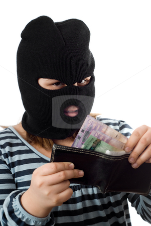 Dishonest Child stock photo, A young child stealing money out of her fathers wallet, isolated against a white background by Richard Nelson