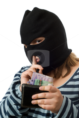 Bad Girl Concept stock photo, Concept image of a bad girl stealing money out of her dads wallet, isolated against a white background by Richard Nelson