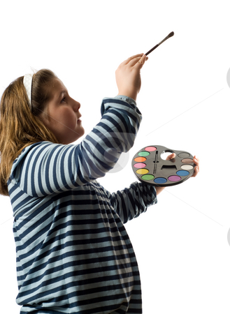 Child Painting stock photo, A child holding a paint pallet and painting your text, isolated against a white background by Richard Nelson