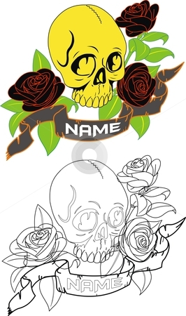 Skull Name Tag stock vector clipart, A cool name tag. accompanied by a skull a few black roses and some leaves around it. the color of each thing can be changed easily accordin to ones requirements by Fowzan Ahmed