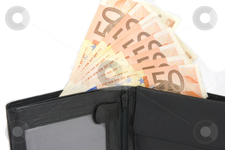 Wallet stock photo, Fifty Euro notes in open black wallet by Gert-Jan Kappert
