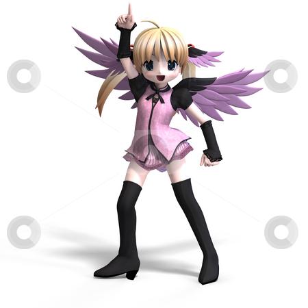 Sweet fantasy angel with wings anf pigtail. With Clipping Path stock photo, Sweet fantasy angel with wings anf pigtail. With Clipping Path by Ralf Kraft