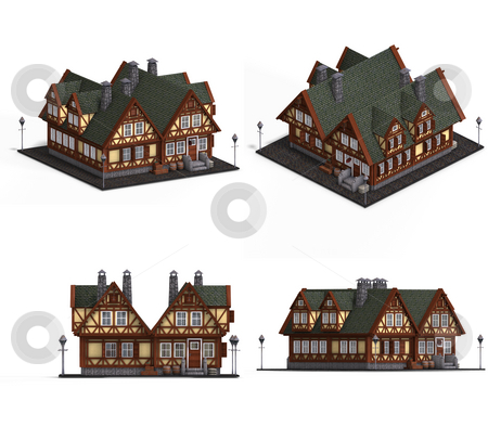 Block of Medieval Houses stock photo, Four Views of an old fashioned house over white by Ralf Kraft