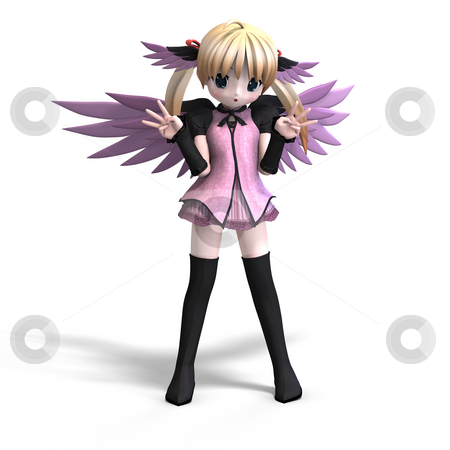 Sweet fantasy angel with wings anf pigtail. With Clipping Path stock photo, Sweet fantasy angel with wings anf pigtail. With Clipping Path by Ralf Kraft